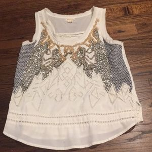 Anthropologie top white ethnic S